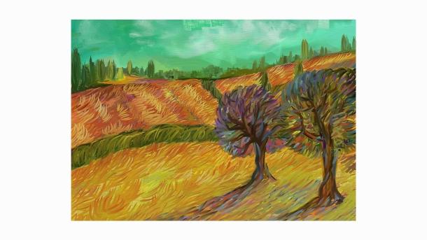 Trees In Autumn Alex Bearne, Harlow, Essex, UK Created on Artrage