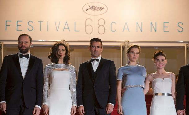 "Director Yorgos Lanthimos, cast members Rachel Weisz, Colin Farrell, Lea Seydoux and Jessica Barden pose on the red carpet as they arrive for the screening of the film ""The Lobster"" in competition during the 68th Cannes Film Festival."