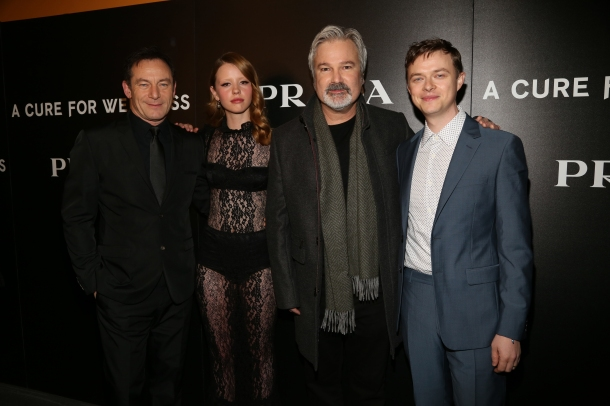 "L-r, Jason Issacs, Mia Goth, director Gore Verbinski and Dane Dehaan attend the New York Red Carpet Event of 20th Century Fox and New Regency Enterprises ""A Cure for Wellness,"" at the Landmark Sunshine Theater, co-hosted by Prada. Photo Courtesy of 20th Century Fox."